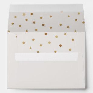 Gold Polka Dots Lined Wedding Invitation Envelope