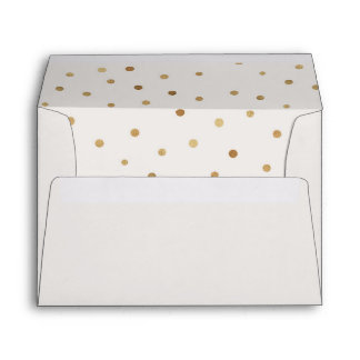 Gold Polka Dots Lined Wedding Invitation Envelope