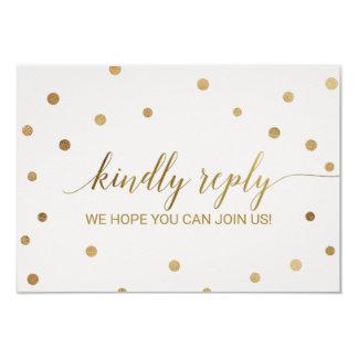 Gold Polka Dots Menu Choice RSVP Card