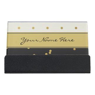 Gold Polka Dots on Black and Beige Desk Business Card Holder