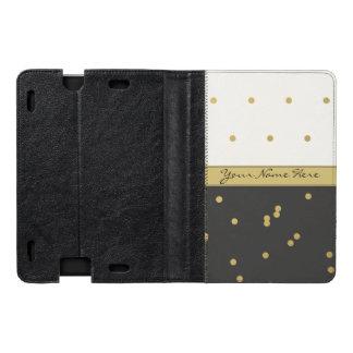 Gold Polka Dots on Black and Beige Kindle Case