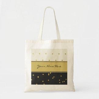 Gold Polka Dots on Black and Beige Tote Bag