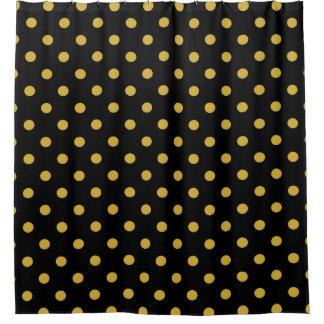 Gold Polka Dots On Black Shower Curtain