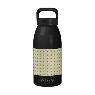 Gold polka dots on cream drinking bottle