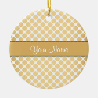 Gold Polka Dots On Gold Background Ceramic Ornament