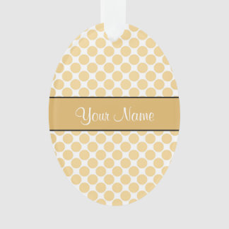 Gold Polka Dots On Gold Background Ornament