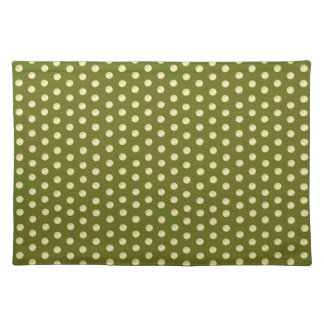 Gold Polka Dots on Olive Green Cloth Placemat