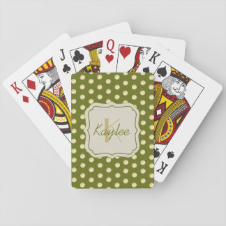Gold Polka Dots on Olive Green Deck Of Cards