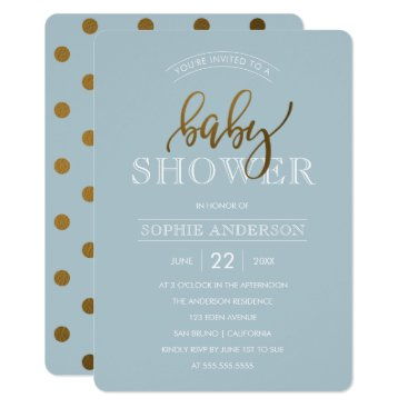 Toddler & Baby themed Gold Polka Dots on Pastel Blue   Baby Shower Card