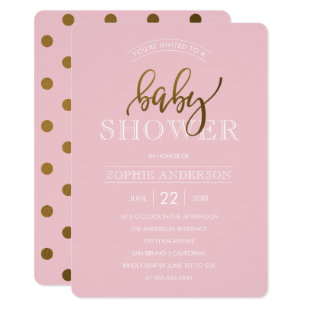 Gold Polka Dots on Pastel Pink | Baby Shower Card