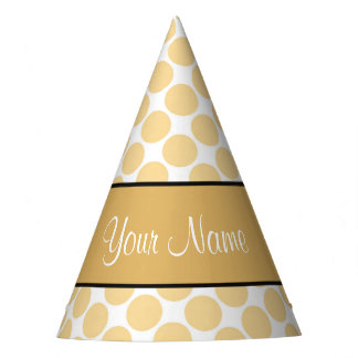 Gold Polka Dots On White Background Party Hat