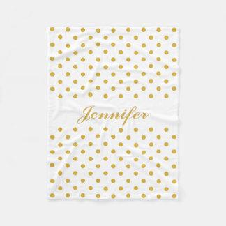 Gold Polka Dots on White Personalized Name Fleece Blanket