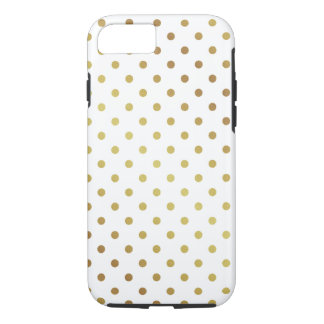 Gold Polka Dots Pattern Cute Chic White iPhone 7 Case