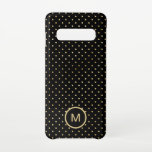 """Gold Polka Dots Pattern Monogram Initial Black Samsung Galaxy S10 Case<br><div class=""""desc"""">A timeless pattern of gold polka dots on a classic black background with monogram initial. Easily personalise your initial and you can also change background and font color if you wish via the Customize Further option.</div>"""