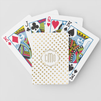 Gold Polka Dots Pattern On White Bicycle Playing Cards