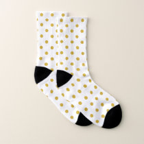 Gold Polka Dots Pattern on White Socks