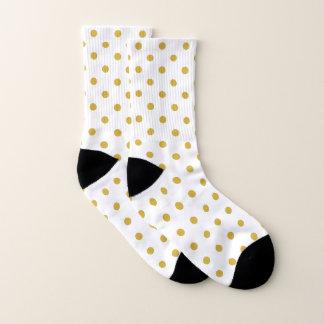 Gold Polka Dots Pattern on White Socks