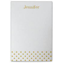 Gold Polka Dots Pattern Personalized Name Post-it Notes