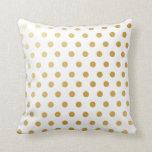 Gold Polka Dots Pattern Pillow