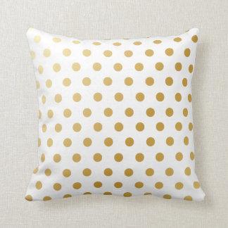 Gold Polka Dots Pattern Throw Pillow