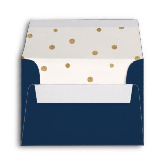 Gold Polka Dots Printed Address RSVP Envelope