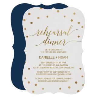 Gold Polka Dots Rehearsal Dinner Card