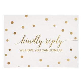 Gold Polka Dots Song Request RSVP Card