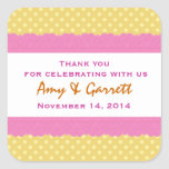 Gold Polka Dots Thank You Double Lace Wedding V12 Stickers