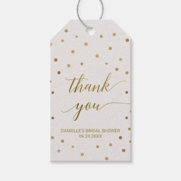 Toddler & Baby themed Gold Polka Dots Thank You Gift Tags