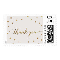Gold Polka Dots Thank You Postage