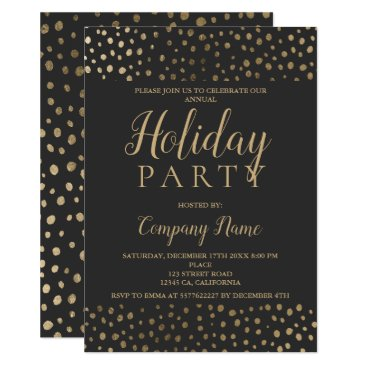 Professional Business Gold polka dots typography corporate Christmas Card