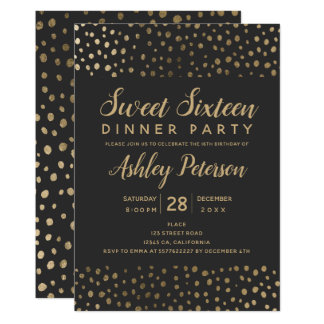 Gold polka dots typography Sweet 16 party Card