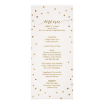Gold Polka Dots Wedding Menu Card