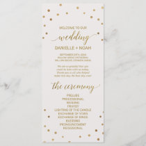 Gold Polka Dots Wedding Program