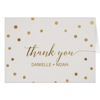 Gold Polka Dots Wedding Thank You Card