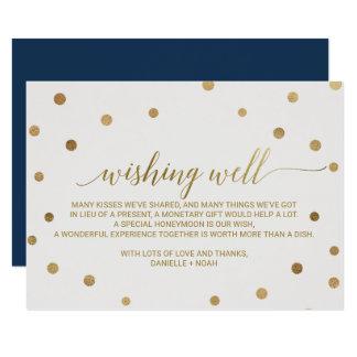 Gold Polka Dots Wedding Wishing Well Card