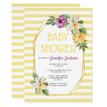Gold polygon and flowers floral baby yellow shower invitation