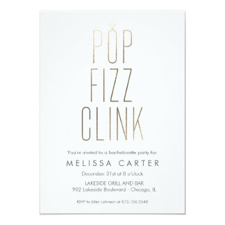 Gold Pop Fizz Clink Bachelorette Faux Foil Card