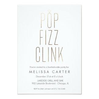 Gold Pop Fizz Clink Bachelorette Faux Foil Invitation