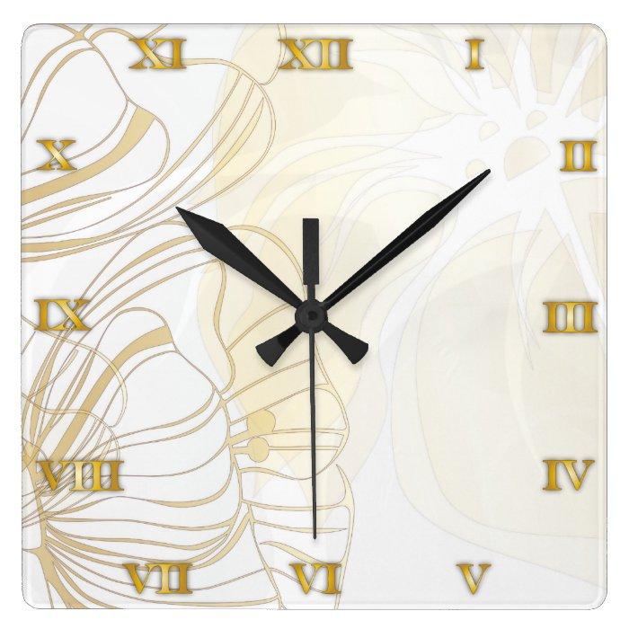 Gold Poppies Clock