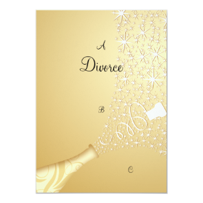 Gold Popping Champagne Divorce Invitation