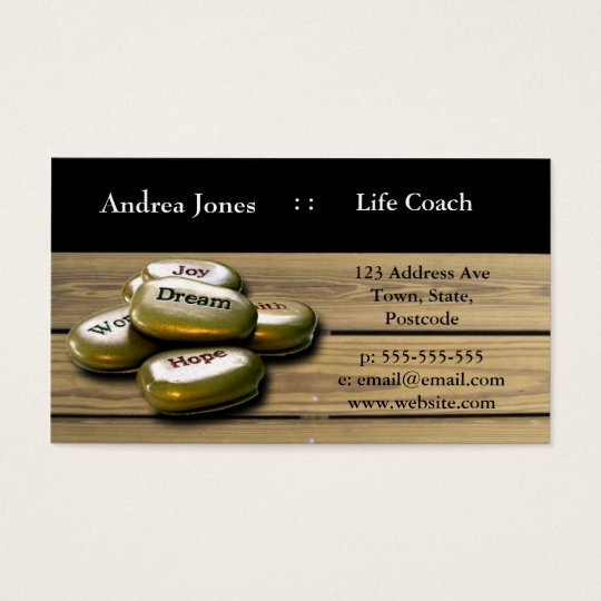 Gold positive word stones life coach business card for Life coaching business cards
