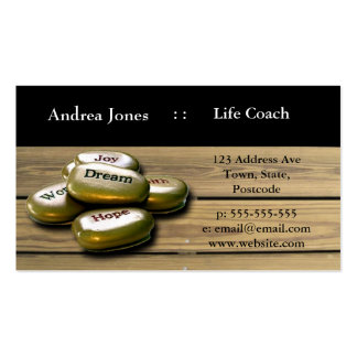 Gold Positive word stones life coach business card