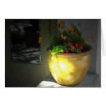 Gold Pot of Flowers Greeting Card