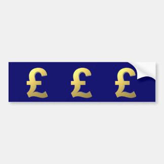 Gold Pound Sign Graphic Car Bumper Sticker