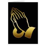GOLD PRAYING HANDS GREETING CARDS