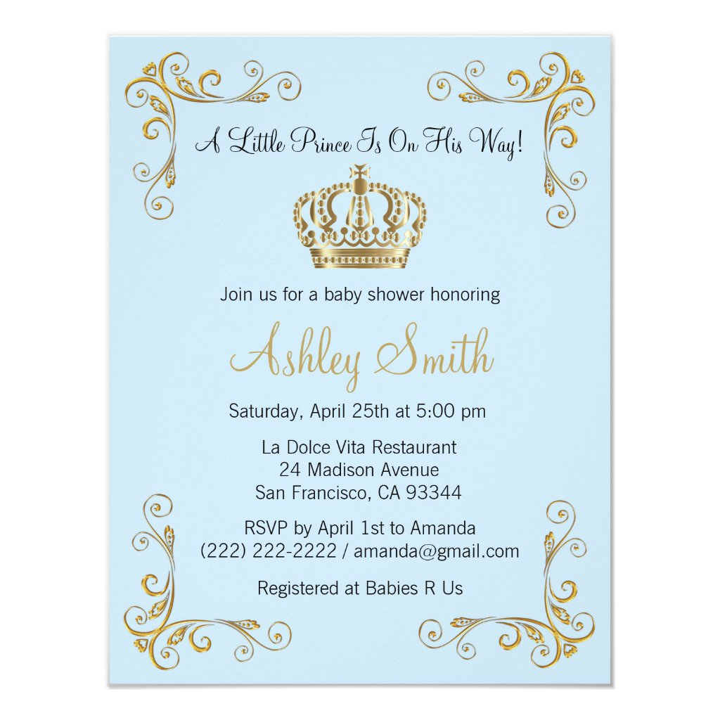 Gold Prince Baby Shower Invitation   Personalized