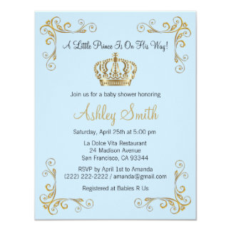Gold Prince Baby Shower Invitation - Personalized