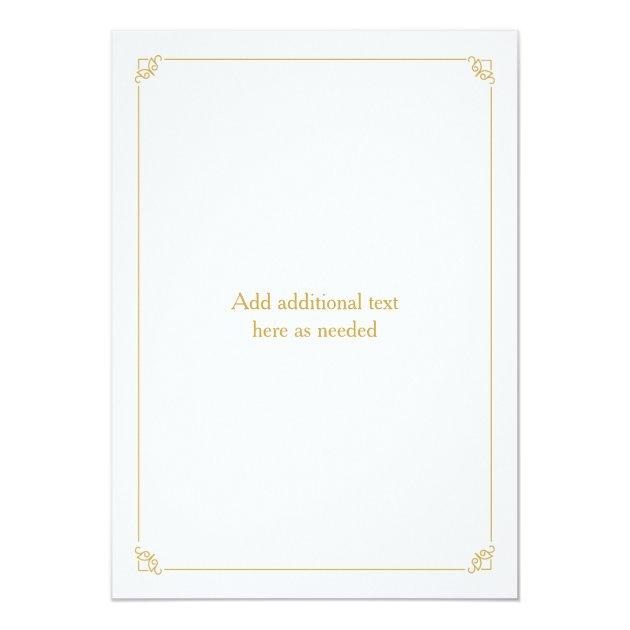 Gold Prince or Princess Gender Reveal Baby Shower Card (back side)