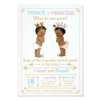 gold prince or princess gender reveal baby shower card - Gender Reveal Baby Shower
